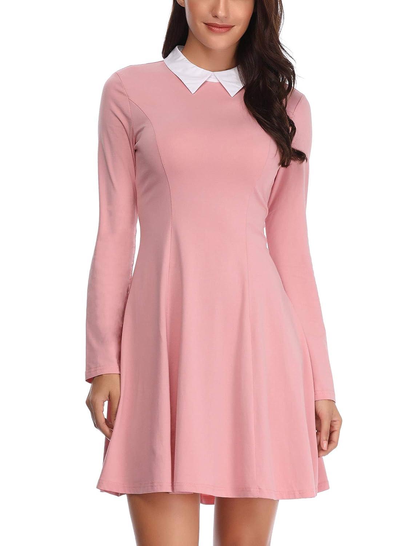 FENSACE Womens Peter Pan Collar Long Sleeve Halloween Dress at Amazon Women s  Clothing store  ba8fa6e002