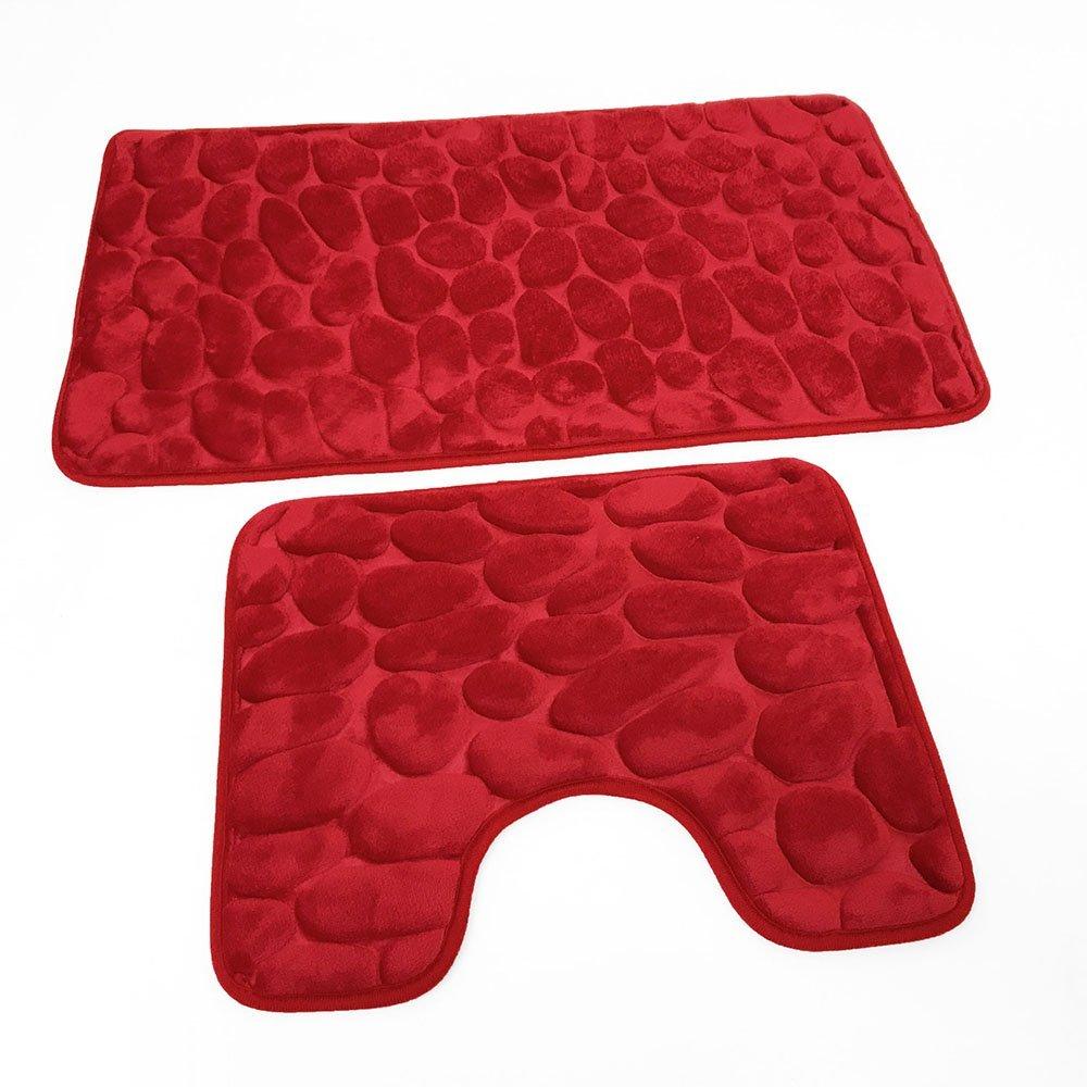 Cotton Mills 2PC Luxury Pebbles Memory Foam Bath & Pedestal Mat Sets Non Slip Soft Luxury Bathroom Rugs (Black)