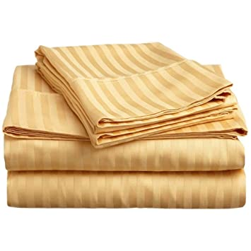 Reliable Trends 300 TC Plain Stripe Cotton King Size Elastic Fitted Bedsheet(230x250cm, Beige)