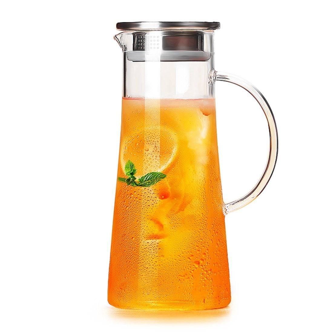 CENSUN 1.5 Liter/52 OZ Borosilicate Glass Pitcher Water Jug with Stainless Steel Strainer Lid, Juice Iced Tea Beverage Hand Made Carafe