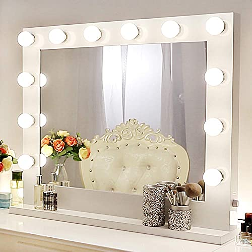 Chende Vanity Mirror with Lights Hollywood Makeup Mirror for Makeup Table Wall Lighted Mirror 14 Free LED Bulbs 31.5 x 25.6