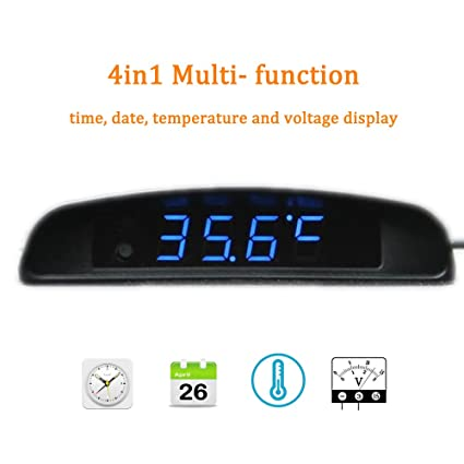 BONNIO Car Onboard Electronic Clock Ultra-thin Thermometer Voltage Meter Blue font Luminous Display