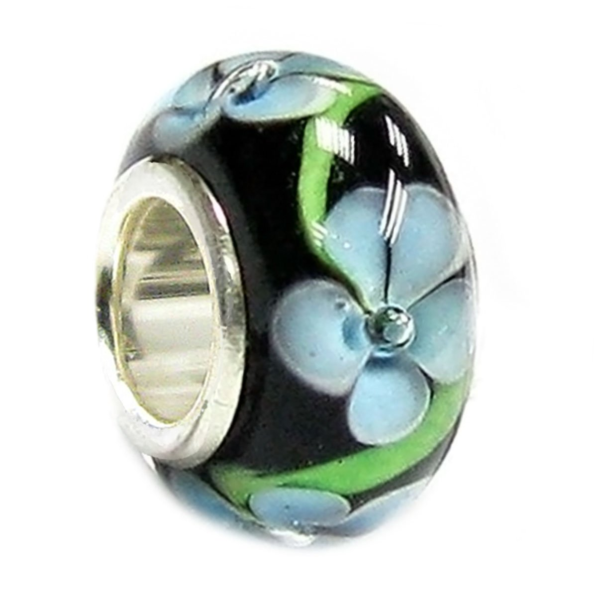 Queenberry Sterling Silver Black Hawaii Blue Flower Glass Bead For European Charm Bracelets