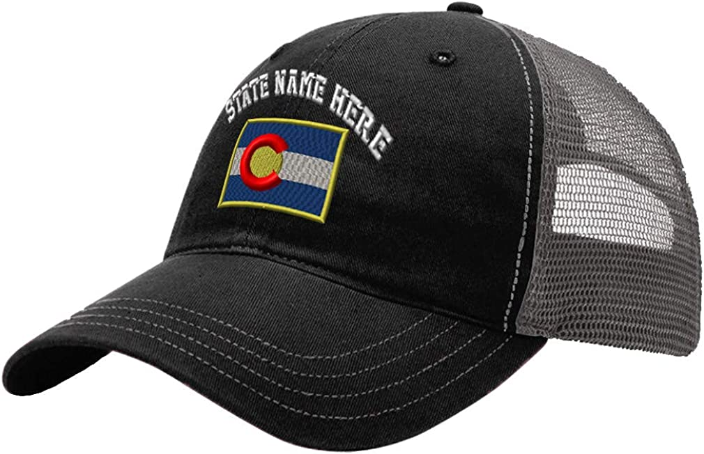 Custom Trucker Hat Richardson Colorado Flag State Embroidery State Name Cotton
