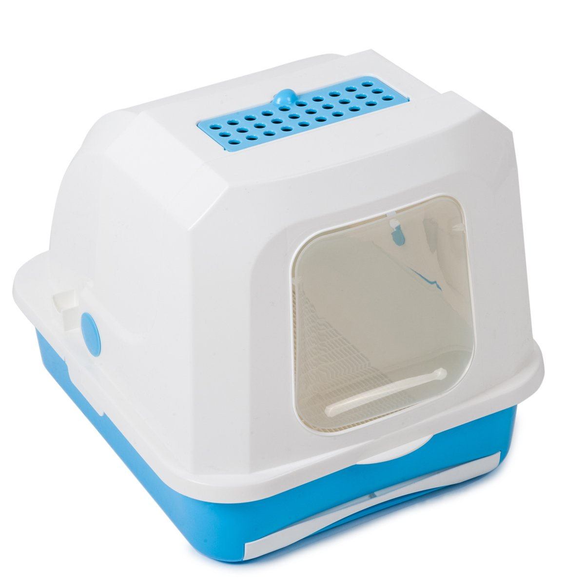 Favorite Enclosed Large Easy Clean White Covered Cat Litter Box Pan with Drawer by Favorite