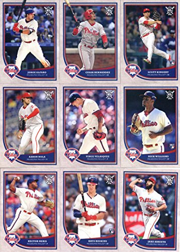 Philadelphia Phillies Trading Card Set - 2018 Topps Big League Baseball Philadelphia Phillies Team Set of 14 Cards: J.P. Crawford(#3), Odubel Herrera(#10), Hector Neris(#42), Aaron Nola(#101), Jake Arrieta(#106), Rhys Hoskins(#113), Carlos Santana(#183), Maikel Franco(#193), Vince Velasquez(#227), Aaron Altherr(#274), Jorge Alfaro(#285), Nick Williams(#297), Scott Kingery(#372), Cesar Hernandez(#386)