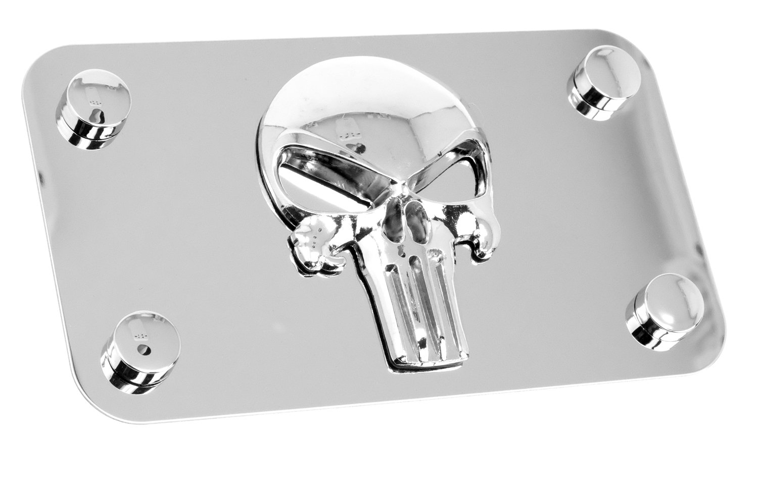 LFPartS Motorcycle Polished Stainless Steel License Plate (Punisher)
