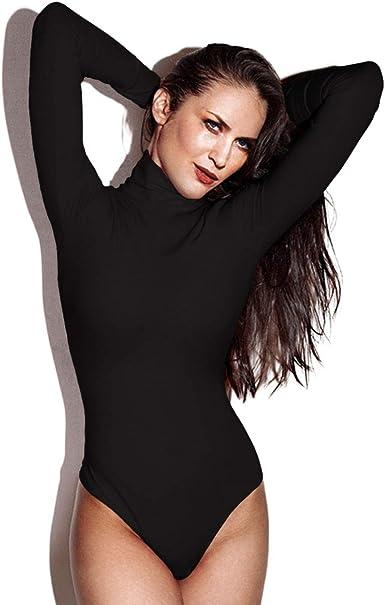 minimomo Womens Black Turtle Neck Long Sleeve Modal Cotton Basic Bodysuit Jumpsuit