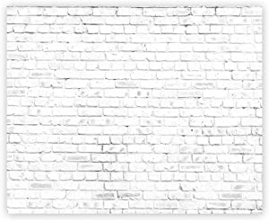 Funnytree 10x8ft Durable Fabric White Rustic Brick Wall Backdrop for Birthday Wedding Festival Themed Party Photography Background No Wrinkles Retro Block Newborn Baby Adult Portrait Photo Decoration