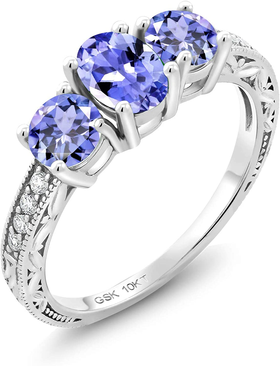 Gem Stone King 10K White Gold Blue Tanzanite and Lab Grown Diamond 3 Stone Women Engagement Ring (1.71 Ct Oval Gemstone Birthstone, Available in size 5, 6, 7, 8, 9)