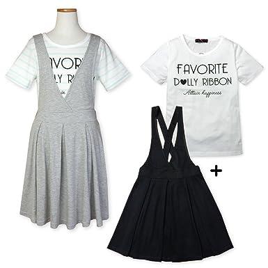 673269d35451a (ブラック 160cm)子供服 女の子 ワンピース ジャンパースカート Tシャツ 半袖 Dolly Ribbon