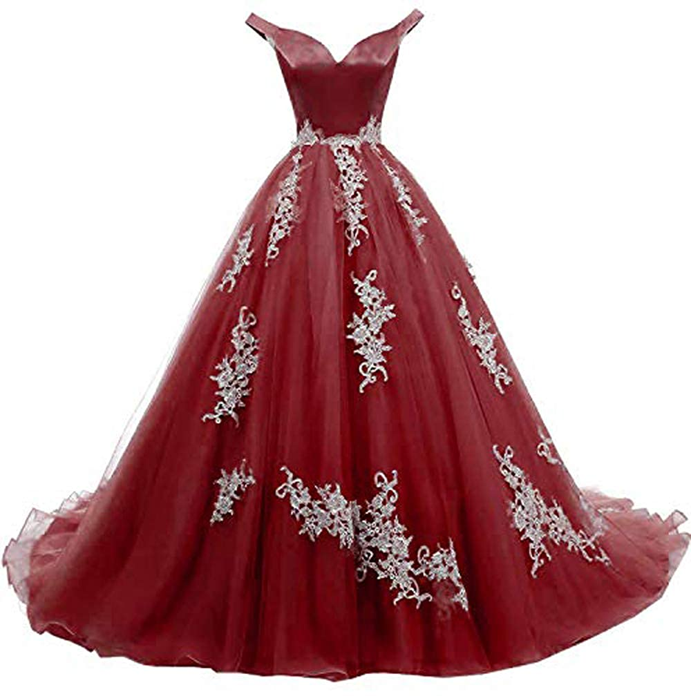 Burgundy MariRobe Women's lace Applique Quinceanera Dresses 2019 Off The Shoulder Prom Dress Backlesss Evening Dress Prom Gown