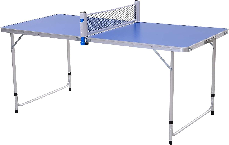 Outsunny Mesa de Ping-Pong Plegable Altura Ajustable en 3 Niveles con Palas y Pelotas de Pin Pon 160x80x54/62/70cm Carga Máxima 30kg