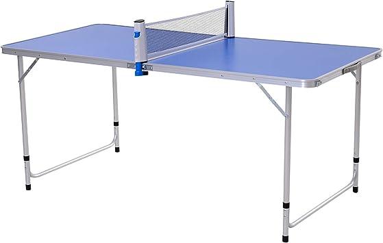 Outsunny Mesa de Ping-Pong Plegable Altura Ajustable en 3 Niveles con Palas y Pelotas de Pin Pon 160x80x54/62/70cm Carga Máxima 30kg: Amazon.es: Deportes y aire libre