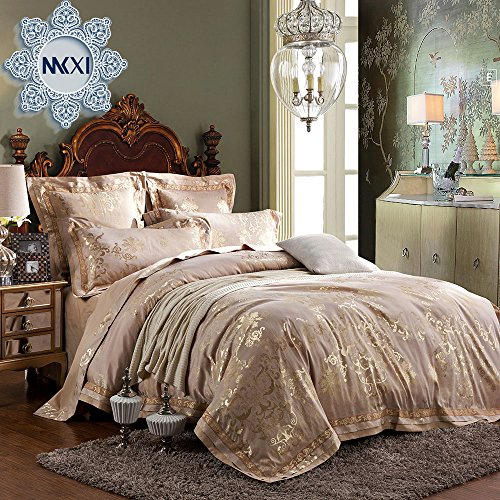 Gold Duvet Set (MKXI Fashionable Pattern Satin Jacquard Silk Duvet Cover Set,Luxury Paisley King Set)