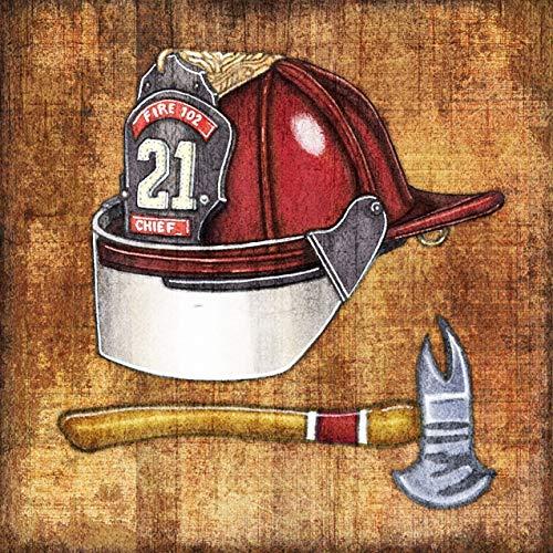 - Fire Chief Helmet Square Art Print by Dan Morris