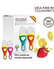O³ Chupete Fruta – 2 Unidades con 6 Tetinas De Diferentes Tamaños – Alimentador Antiahogo Bebe Para Las Frutas y Verduras – Ayuda La Dentición De Bebé – 100%  Silicona Sin BPA – Norma CE