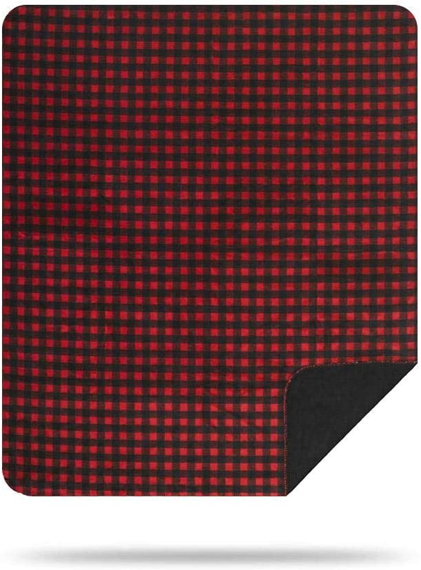 Denali Ultimate Comfort Plaid Throw Blanket, Plush, Hand-Stitched, Super Cozy Blankets Made in The USA, Red-Black Buffalo Check