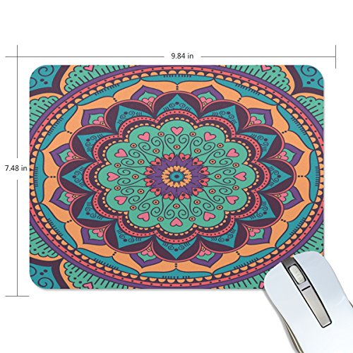 Price comparison product image QQMARKET Mouse Pad for Laptop and Computer Mousepad Close Up Green Mandala Flower Rubber Non Slip Gaming Mouse mat 9.8x7.5 inch