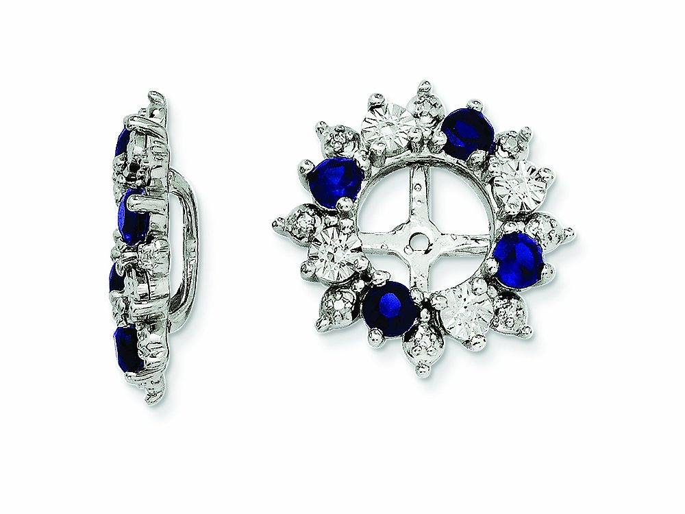 Finejewelers Sterling Silver Created Blue Sapphire Earring Jackets