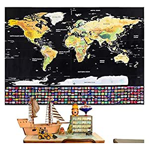 Rabbitgoo Scratch Off World Map Poster with Country and Region Flags, World Travel Tracker Map Wall Map Decoration Gift Idea for Adventurers and Geography Enthusiasts, 82.5 X 59.5 CM, (32.2in. By 23.2in.)