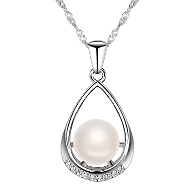 8a038054f Pearl Pendant Necklace 925 Sterling Silver Freshwater Pearl Necklace for  Women Fashion Jewellery Chain Christmas Gift