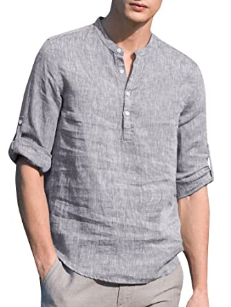 8a07874270f94 Ermonn Mens Linen Henley Shirts Casual Loose Fit Roll up Cuffed Sleeve T  Shirt Tops at Amazon Men's Clothing store: