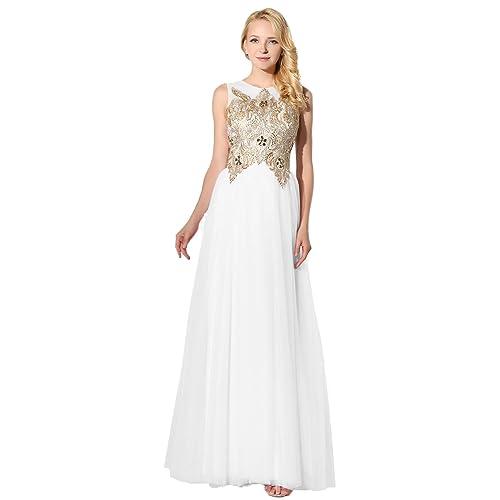 White An Gold Prom Dresses: Amazon.com
