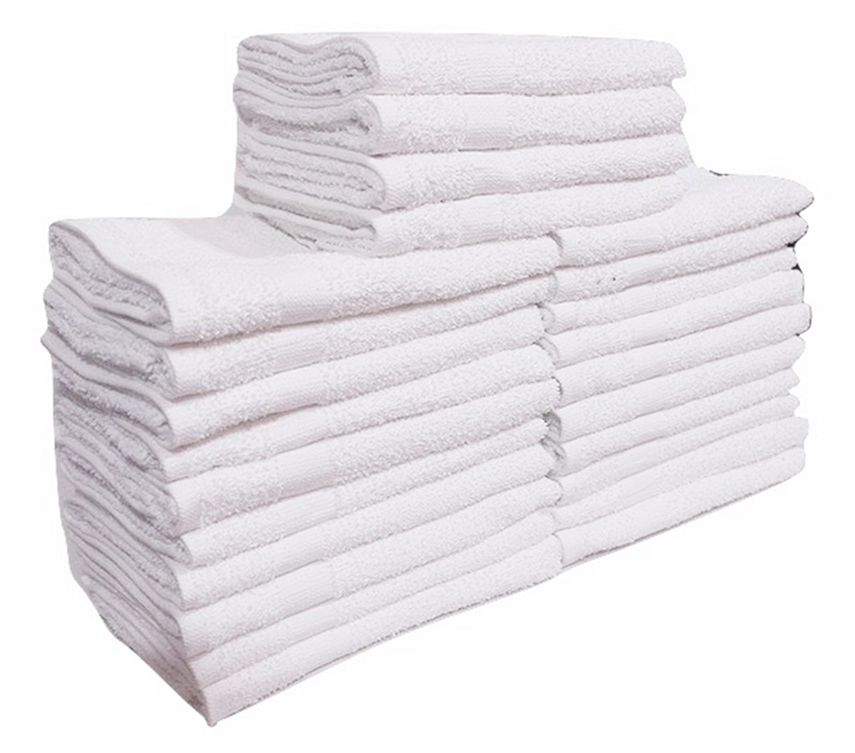 24 Pcs (2 Dozen) White 16''x27'' Pure Cotton Economy Hand Towels Salon/ Gym/ Hotel Super use Absorbent Best for Kitchen,Janitorial,home use Towels (100%