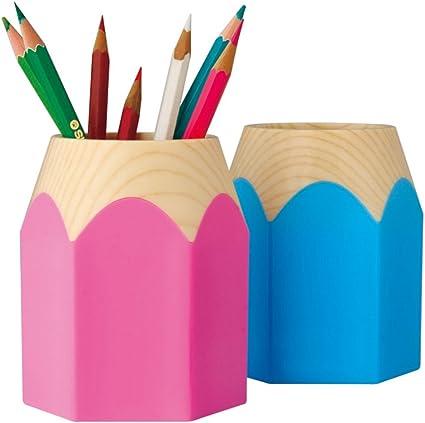 Creativo Portalápices forma de lápiz Portalápices de escritorio pote del cepillo para los estudiantes (rosado+azul): Amazon.es: Oficina y papelería