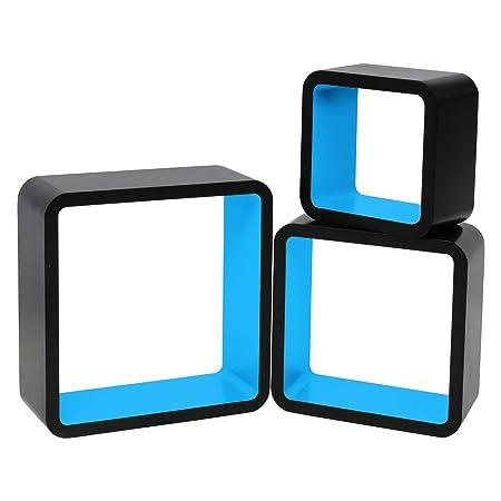 woltu floating shelves blue black cube floating wall shelves set of rh amazon co uk