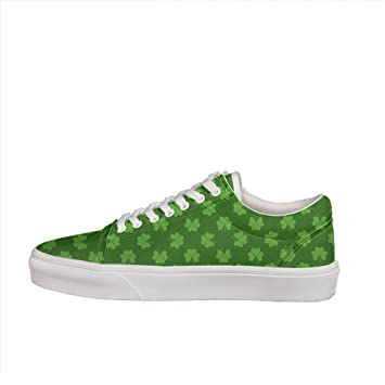 womens Skateboarding Shoes Canvas shamrock leaf st partrck day Sport Sneaker