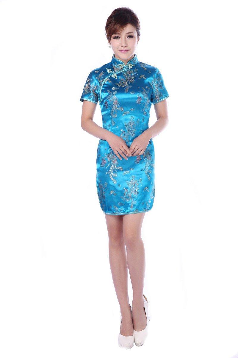 JTC Women's Blue Short Cheongsam Dress 1pc (0/2)