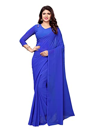 0c24bb773859ed VARAYU Women's Royal Blue Georgette Plain Saree: Amazon.in: Clothing &  Accessories