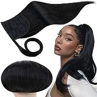 Runature Paardenstaart Extensions Van Echt Haar 12 Inch Kleur 1 Pikzwart 70g Recht Haar Ponytail Wrap Around Hair…