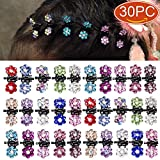 Elesa Miracle 30pcs Crystal Rhinestone Mini Flower Hair Claw Clip Baby Toddler Girl Hair Bangs Pin Kids Hair Accessories (Set A - 30pcs Multicolored)