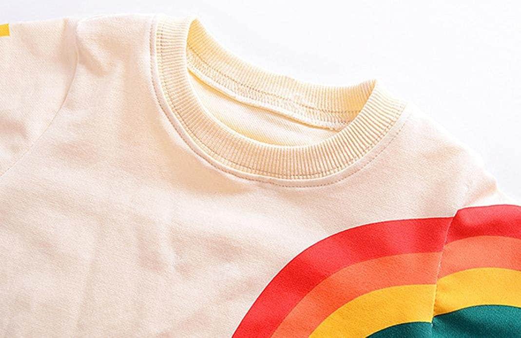 Fineser Baby Girls Boys Long Sleeve Rainbow Pullover Sweatshirt Tops Toddler Kids Spring Casual Outfits