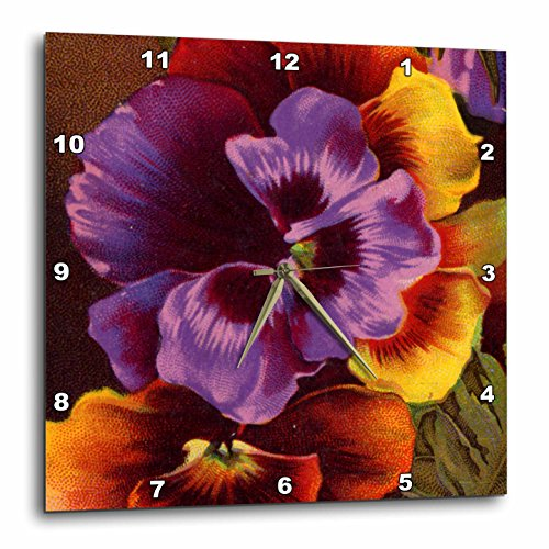 3dRose dpp_26071_1 Pansies in Purple and Gold-Wall Clock, 10 by 10-Inch -