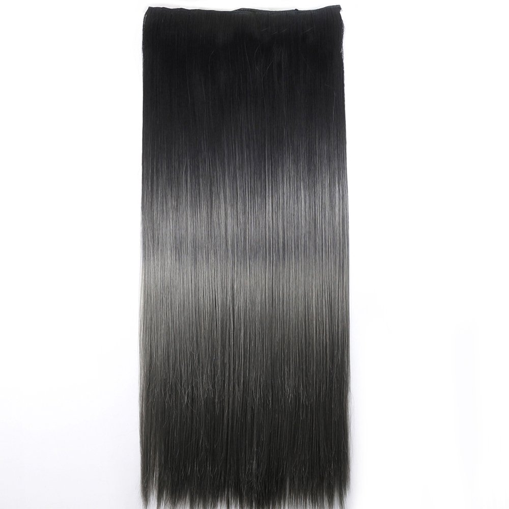 Neverland Beauty 24Synthetic Straight Two Tone Ombre Hairpiece Hair Extensions 3/4 Full Head Clip #7