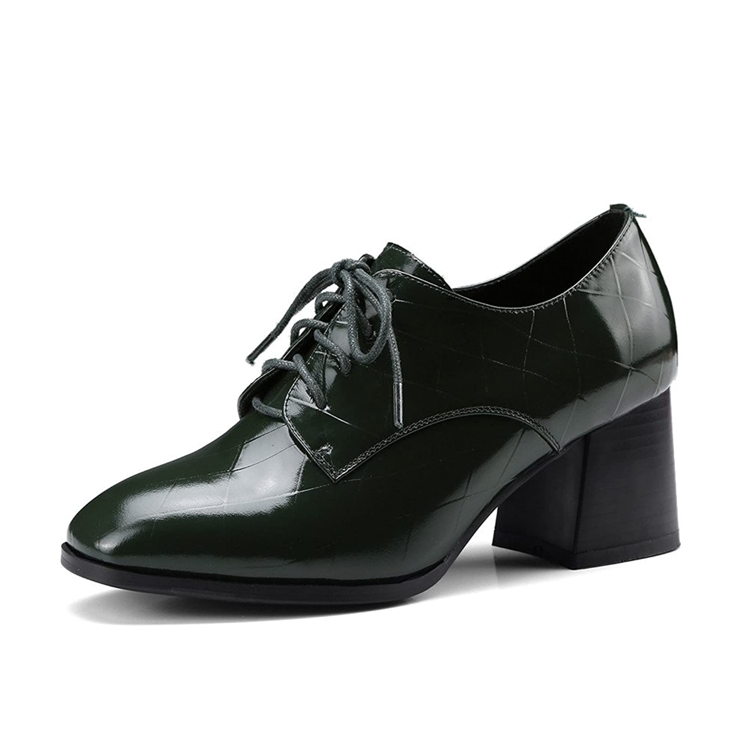 Dulce Diva Patent Leather Chunky Heel Square Toe Lace Up Oxford Shoes Women