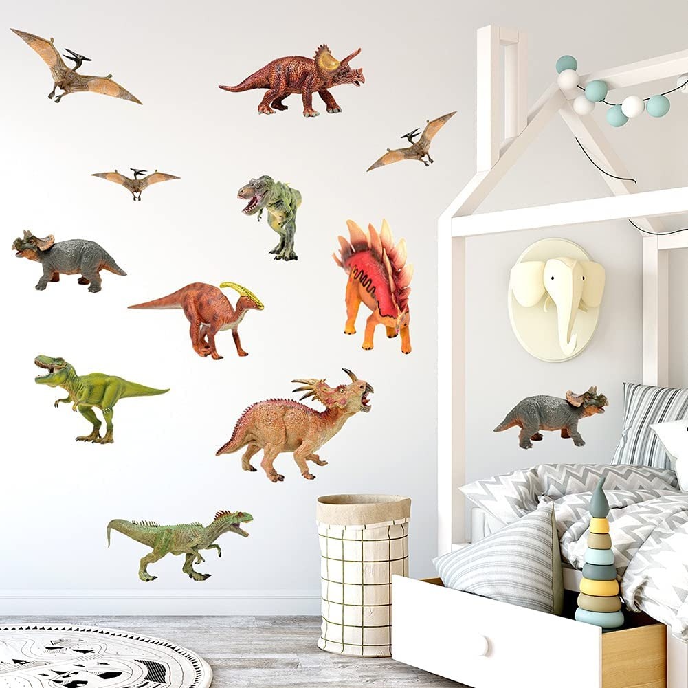 Colorful Dinosaur Wall Stickers| Removable Dinosaur Wall Mural Decals for Baby Children Nursery Classroom Playroom Bedroom Living Room Decor (Peel and Stick)
