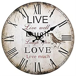 Something different 13.4in Live Laugh Love Clock (One Size) (Multicoloured)