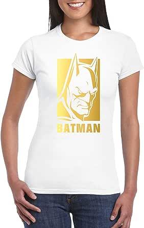 White Female Gildan Short Sleeve T-Shirt - Batman – Gold design