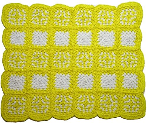 (Dollhouse Miniature Granny Square Lemon Crochet Afghan by Bright deLights)