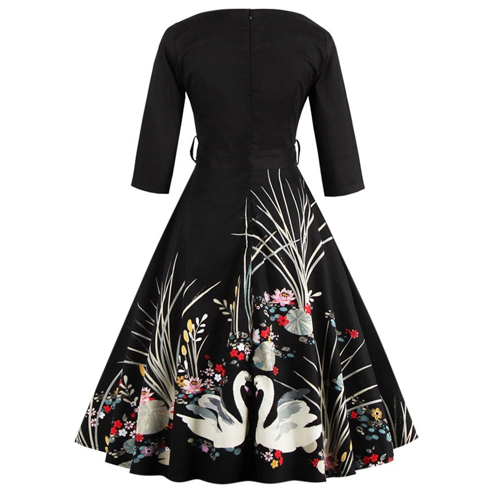 b13d40cb96 Rosegal Women s 50s Vintage Floral V-Neck Swan Midi Dress 3 4 Sleeve  Cocktail Party A Line Swing Dresses with Belt at Amazon Women s Clothing  store