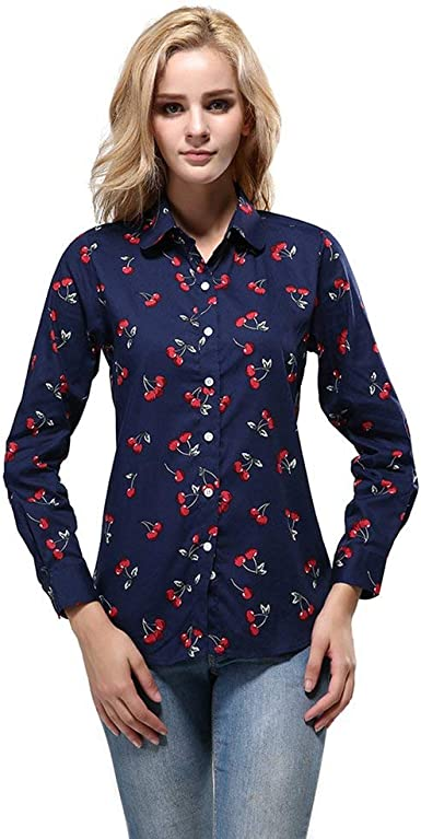 Camisa Elegantes Moda Camisas Mujer Festival Primavera Cereza ...
