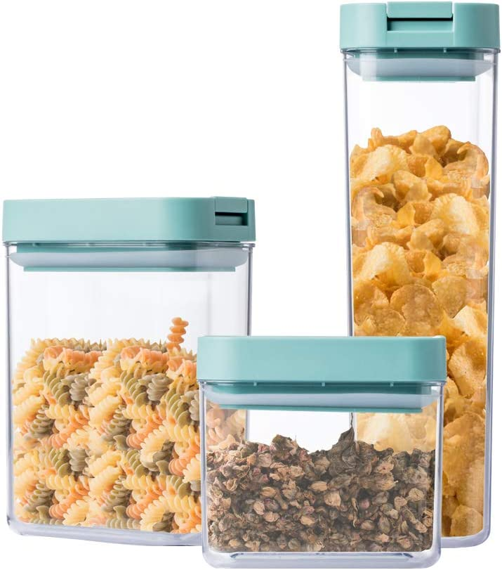 Jordan & Judy Airtight Food Container Jar With Lid, Storage Canisters for Kitchen, Snacks Pantry Container - Clear Plastic BPA-Free - Keeps Food Pasta Tea Coffee Fresh & Dry (M(25.4 Ounce))