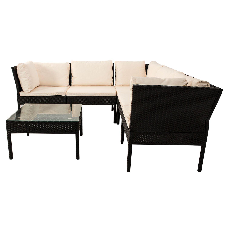Amazon.de: Polyrattan Gartenmöbel Lounge Sitzgruppe Santorin - schwarz