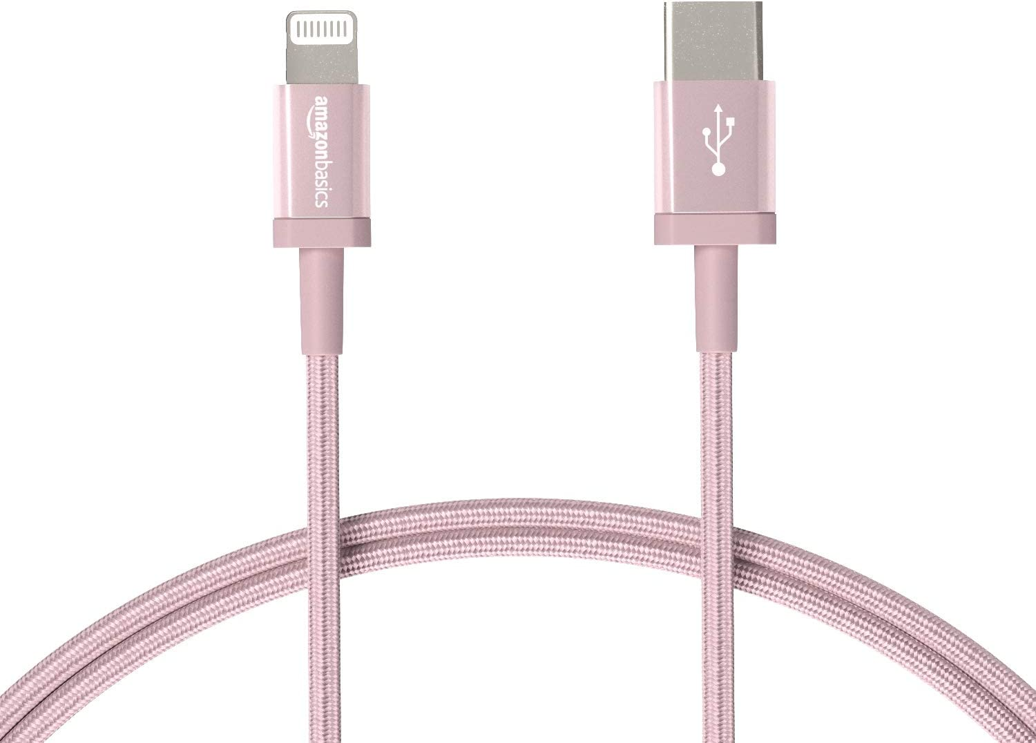 AmazonBasics Nylon Braided USB-C to Lightning Cable, MFi Certified Charger for iPhone 11 Pro/11 Pro Max - Rose Gold, 3-Foot