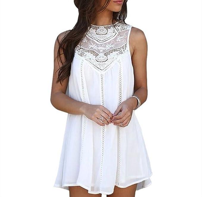 jinyouju Sexy Mujer Verano Blanco Casual sin mangas para Velada Fiesta Cóctel corto vestido Blanco blanco